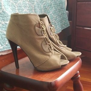 Army green lace up booty heels